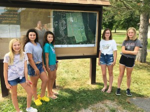 HF-L Girl Scouts Install Trail Map at Mark Tubbs Park
