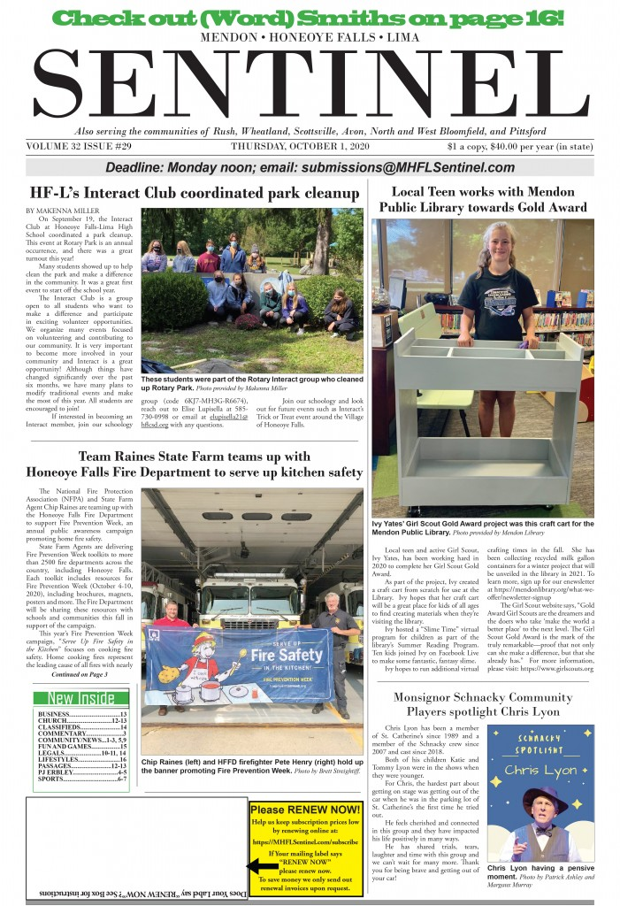 October 1, 2020 Issue of <em>The Sentinel</em>