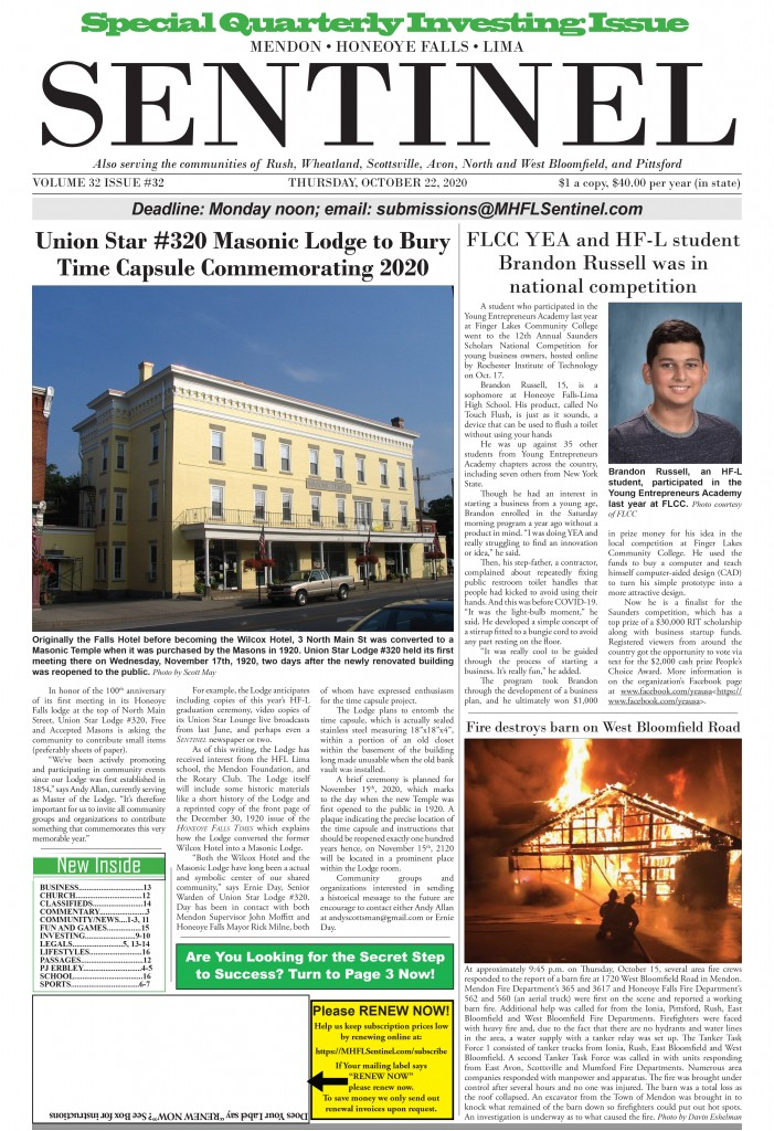October 22, 2020 Issue of <em>The Sentinel</em>