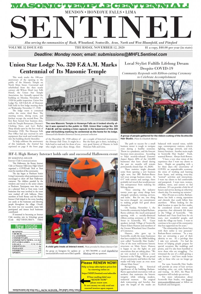 November 12, 2020 Issue of <em>The Sentinel</em>