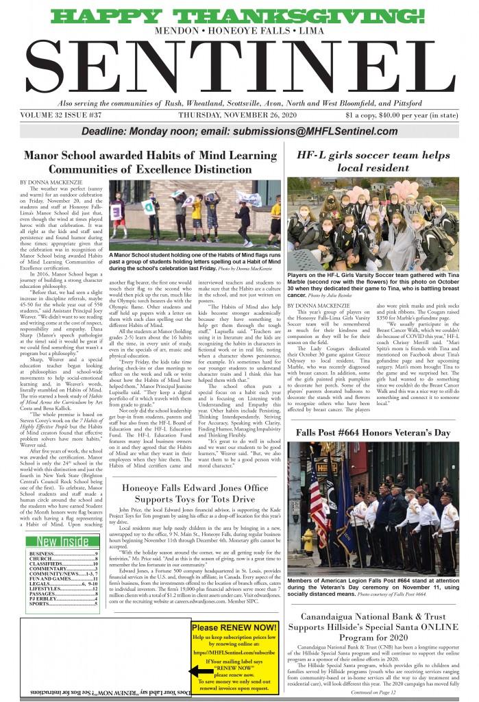 November 26, 2020 Issue of <em>The Sentinel</em>