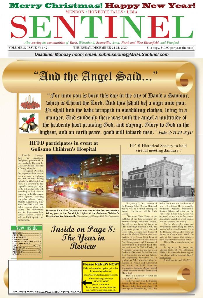 December 24-31, 2020 Issue of <em>The Sentinel</em>