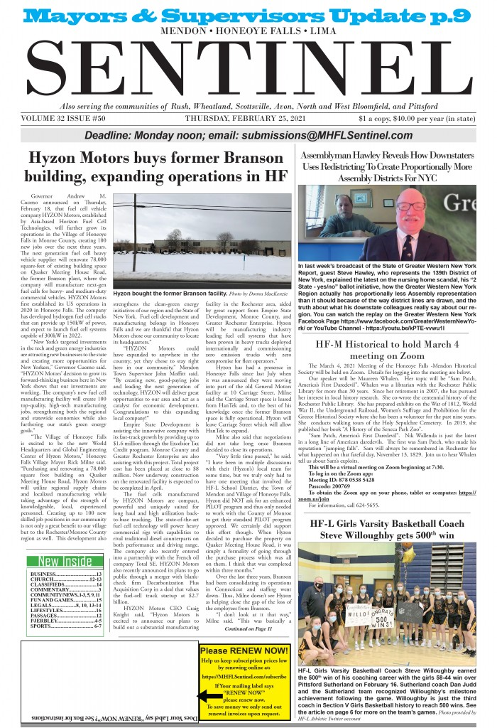 February 25, 2021 Issue of <em>The Sentinel</em>