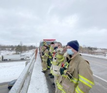 Area firefighters give final salute to fallen soldier
