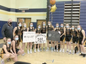 HF-L Girls Varsity Basketball Coach Steve Willoughby gets 500th win