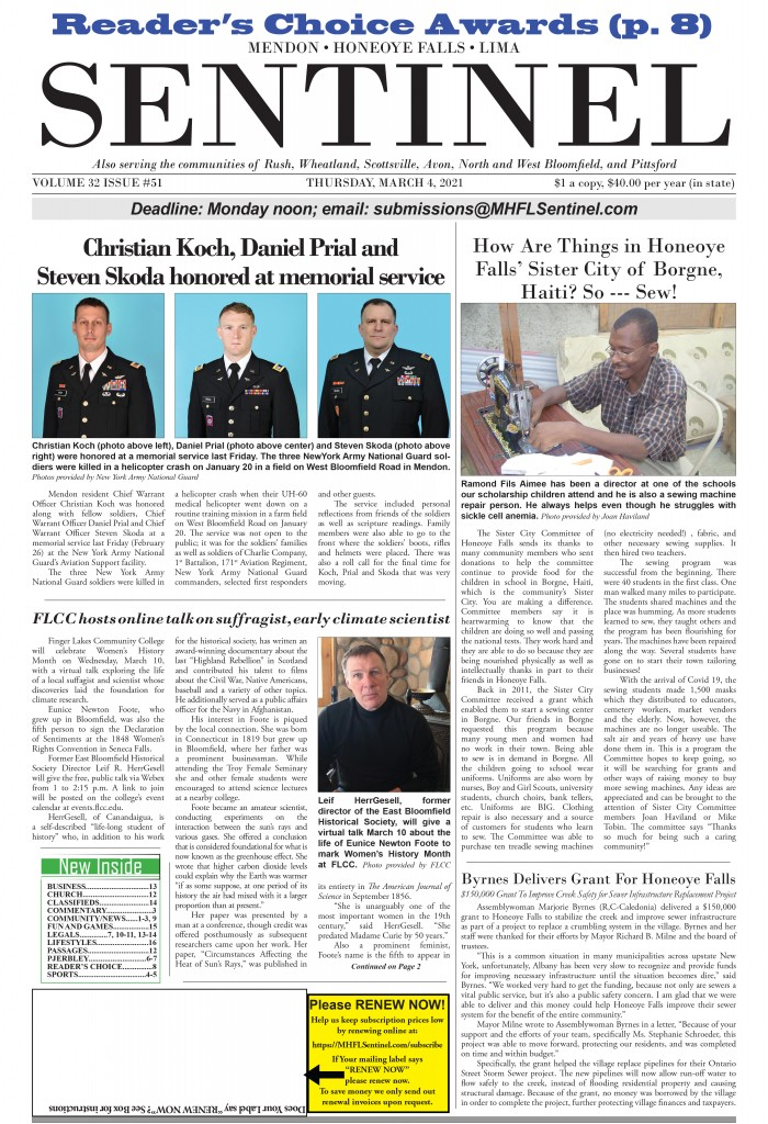 March 4, 2021 Issue of <em>The Sentinel</em>