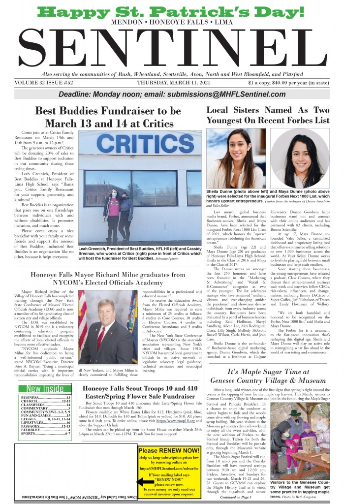 March 11, 2021 Issue of <em>The Sentinel</em>