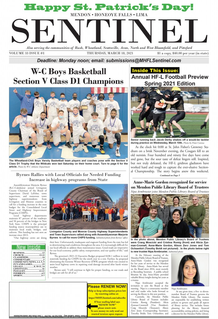 March 18, 2021 Issue of <em>The Sentinel</em>