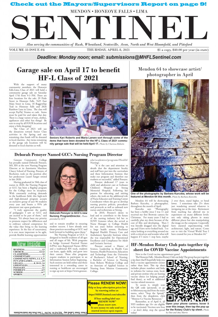 April 8, 2021 Issue of <em>The Sentinel</em>