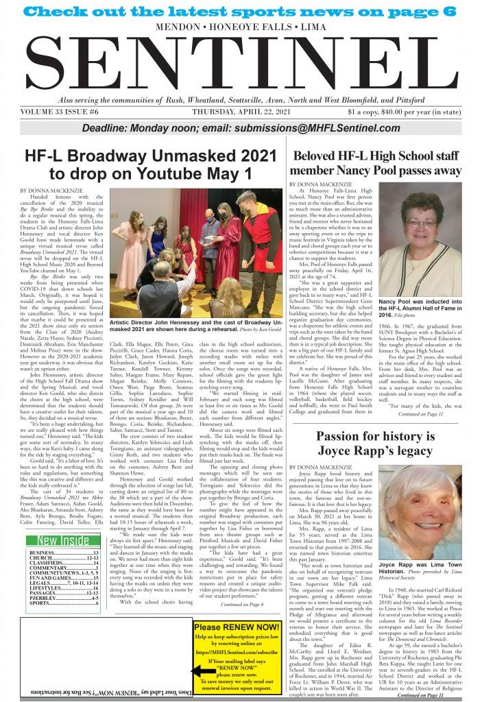 April 22, 2021 Issue of <em>The Sentinel</em>