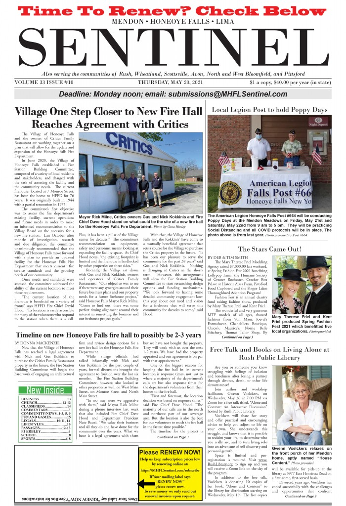 May 20, 2021 Issue of <em>The Sentinel</em>