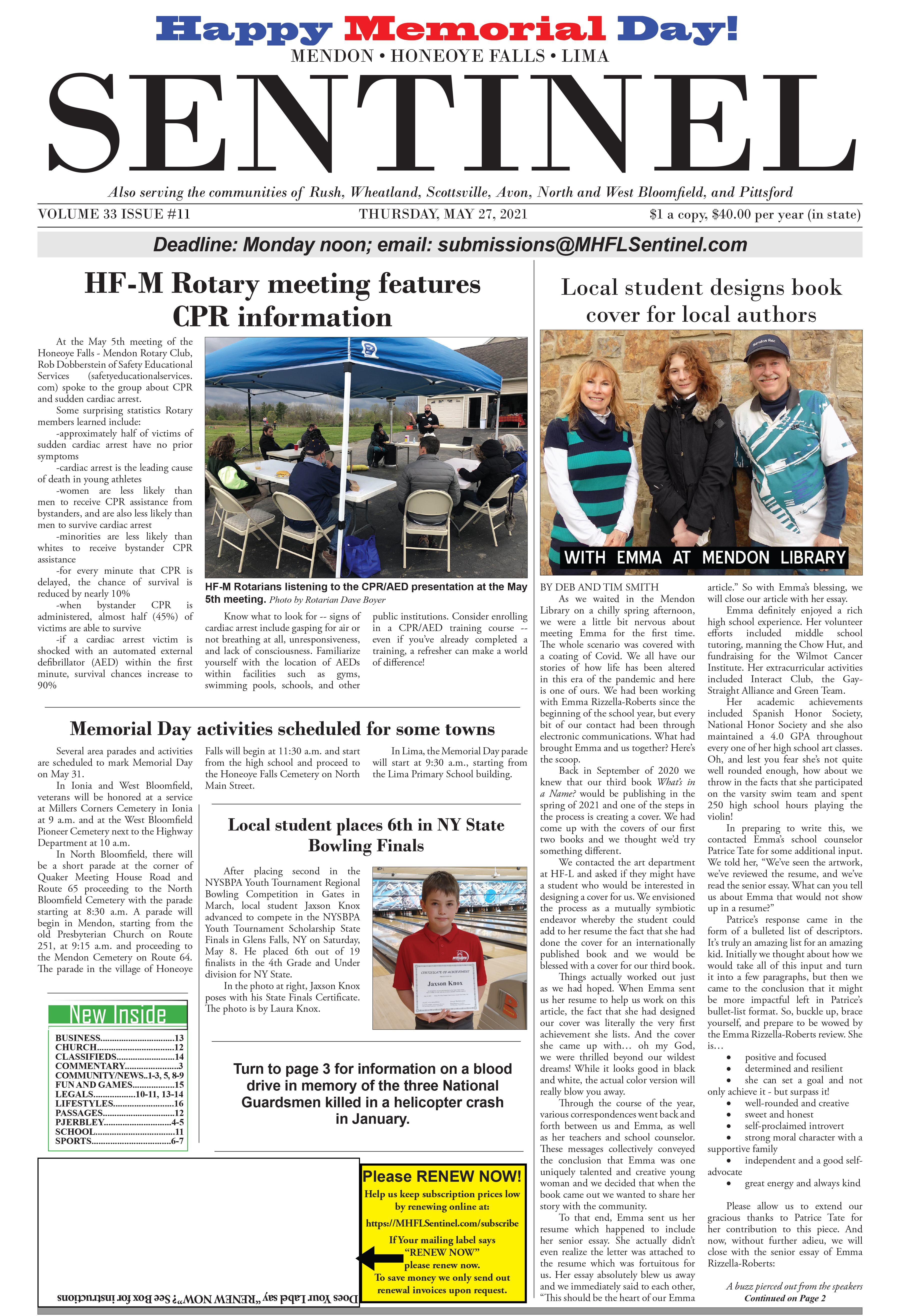 May 27, 2021 Issue of <em>The Sentinel</em>