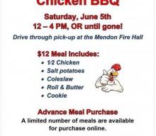Mendon Fire Department Auxiliary Chicken BBQ Fund Raiser is June 5